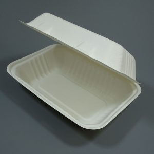 """Bagasse Clamshell Food Container 7""""x5"""" White"""