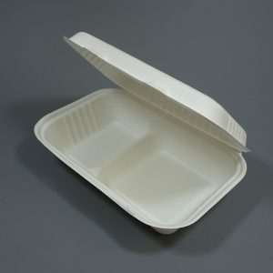 """Bagasse Clamshell Food Container 9""""x6"""" 2 Compartment White"""