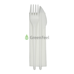 Individually Wrapped Disposable White Plastic Cutlery