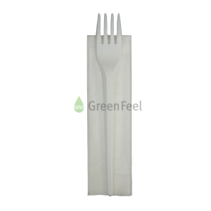Individually Wrapped Disposable Black Plastic Fork & Napkin