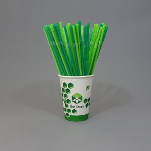 Compostable Bendy Neck Drinking Straws Green