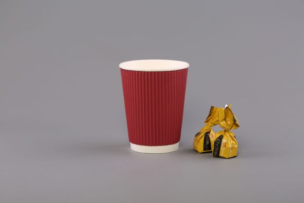 12oz Red Ripple Paper Coffee Cup