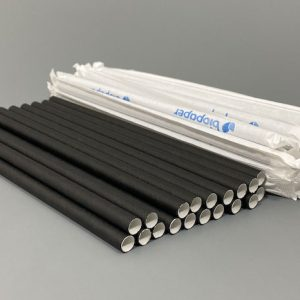 Individually Wrapped Black Paper Straws