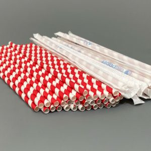 Individually Wrapped Red & White Paper Straws 200mm x 8mm