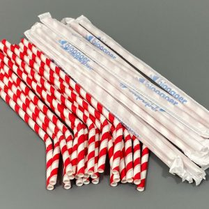 Individually Wrapped Red & White Bendy Paper Straws 200mm x 8mm