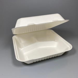 """Sugarcane Food Container 8"""" x 8"""" 3 Compartments"""