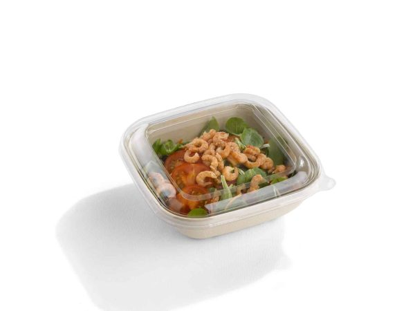 Sabert Square Bowl With Food and Lid