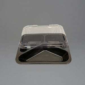 Black Plastic Food Container 3 Compartment with Lid