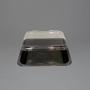 Black Plastic Food Container 1 Compartment with Lid