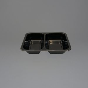 Black Plastic Food Containers 2 Compartment