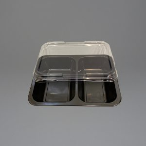 Black Plastic Food Container 2 Compartment with Lid