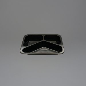 Black Plastic Food Containers 3 Compartment