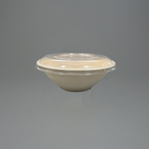 40oz GreenFeel Pulp Round Bowl with rPET Lids For Hot Food and Cold food such as salads.