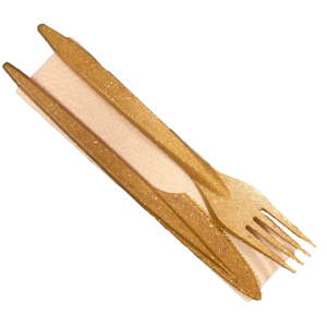 Reusable WPC Cutlery Set: Fork, Knive and Napkin